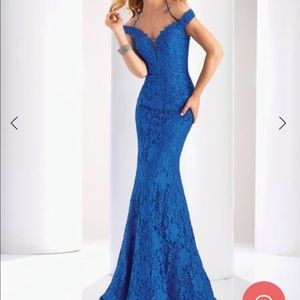 Clarisse 4801 Off Shoulder Bead Lace Mermaid Gown